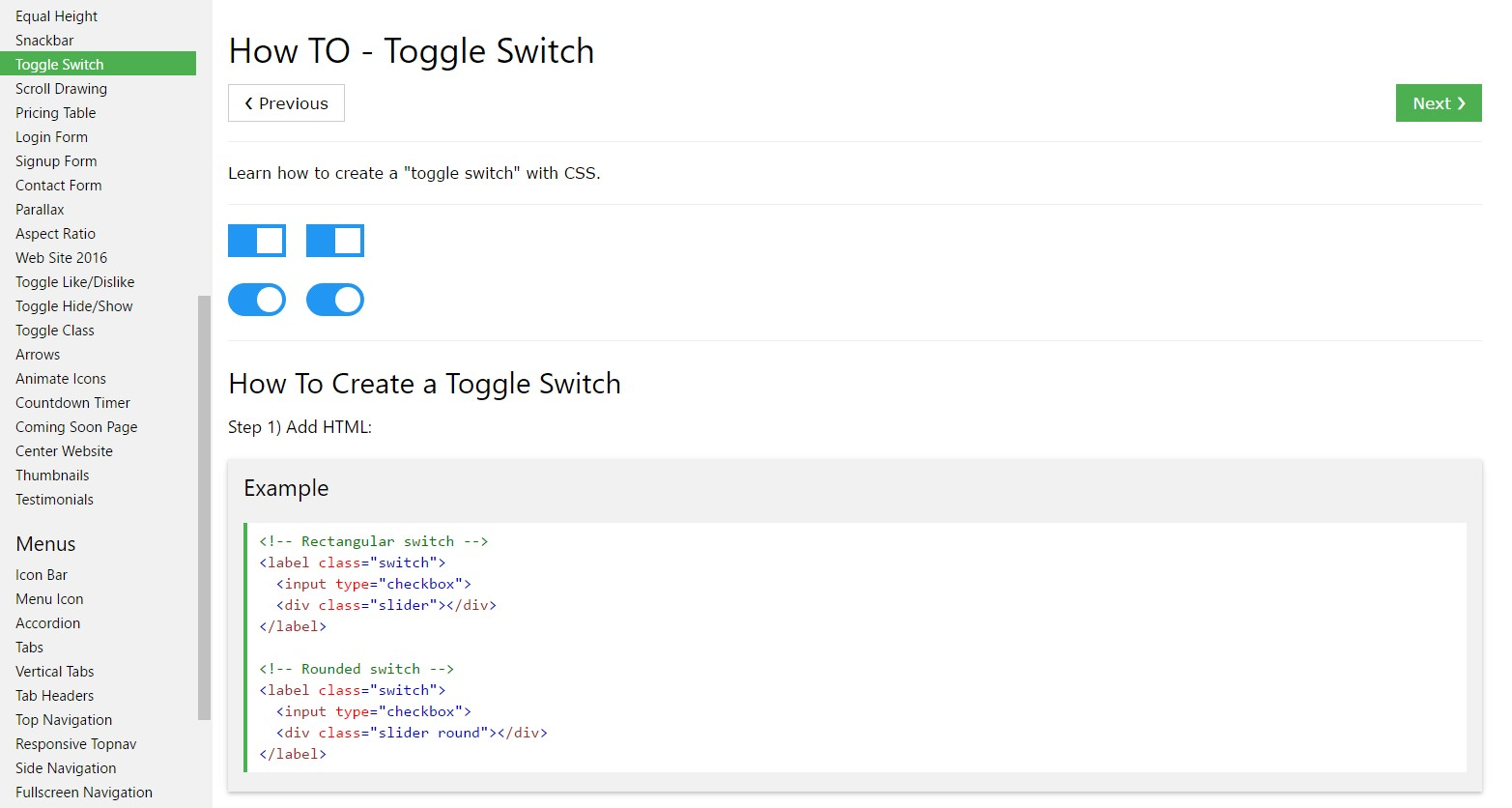 The ways to  produce Toggle Switch
