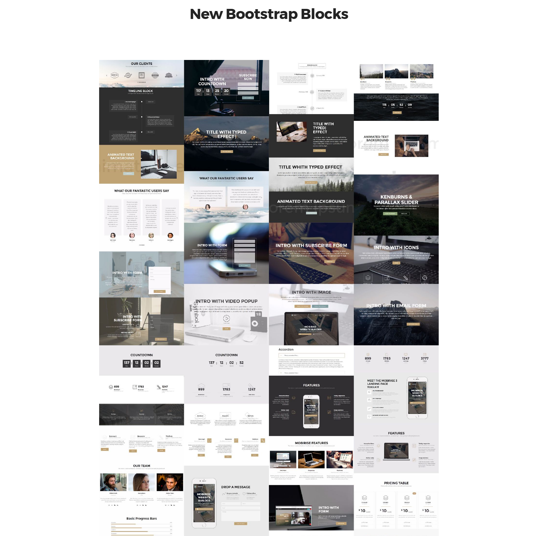 HTML Bootstrap 4 mobile-friendly blocks Themes