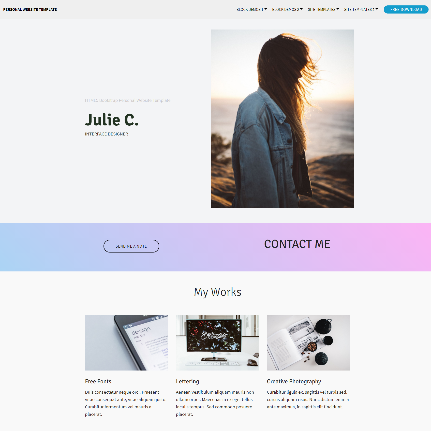 Free Bootstrap Personal Website Templates