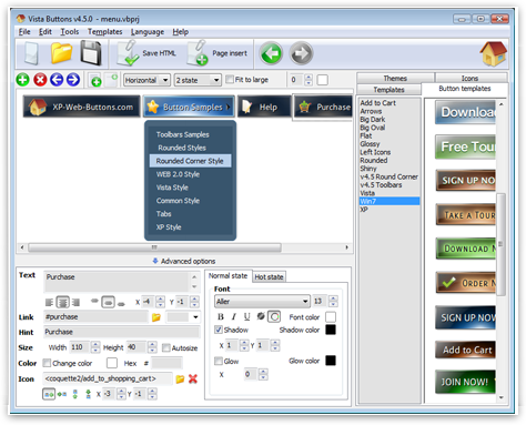 How to create a text-based menu using Vista Buttons