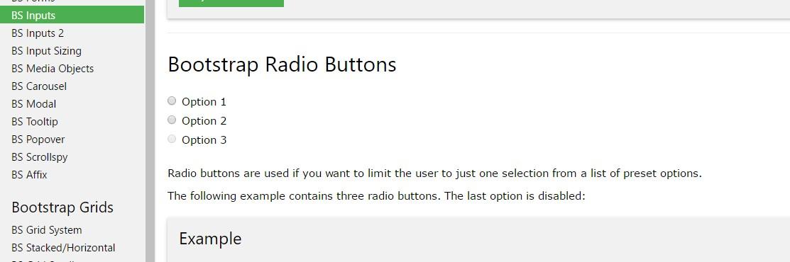 Bootstrap Radio button -  information