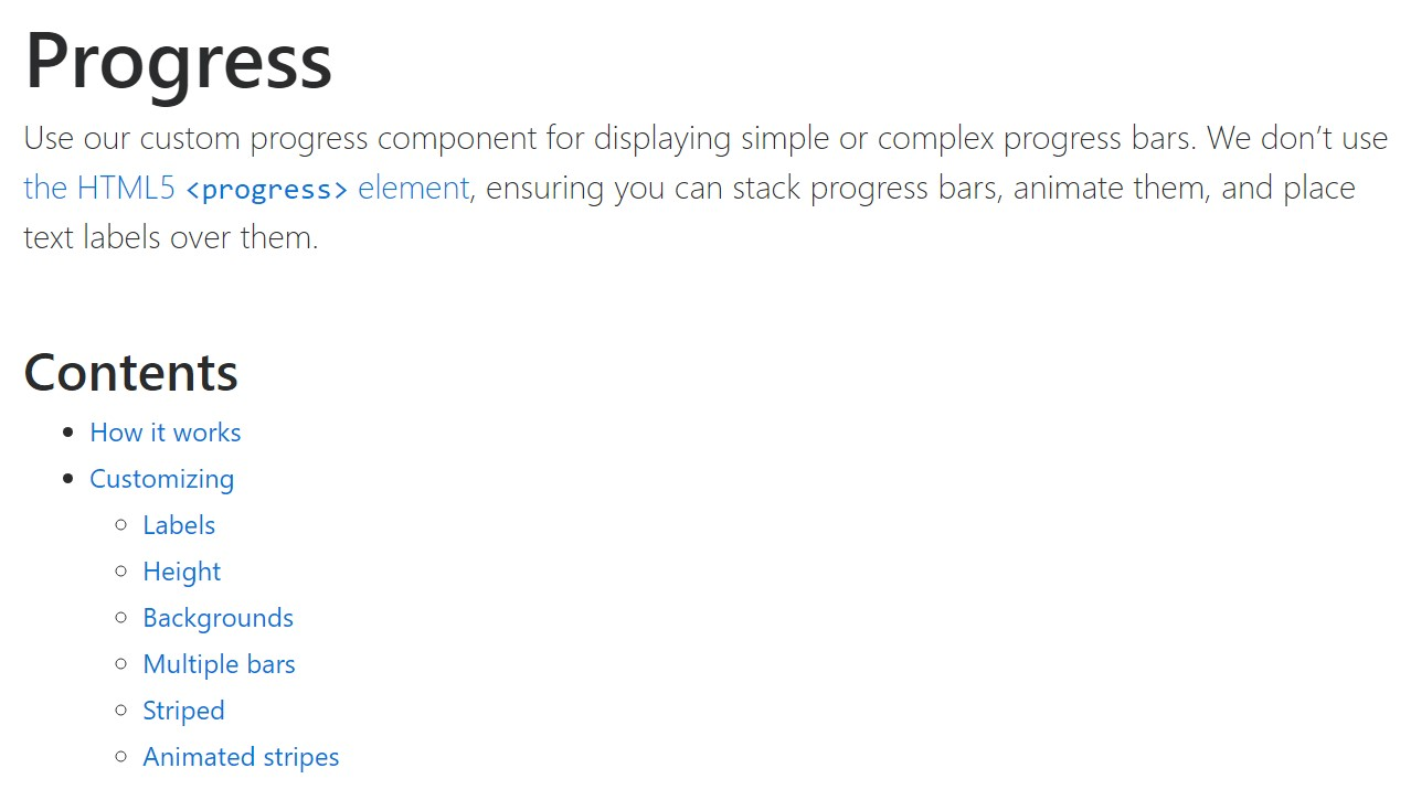 Bootstrap progress bar  formal  documents