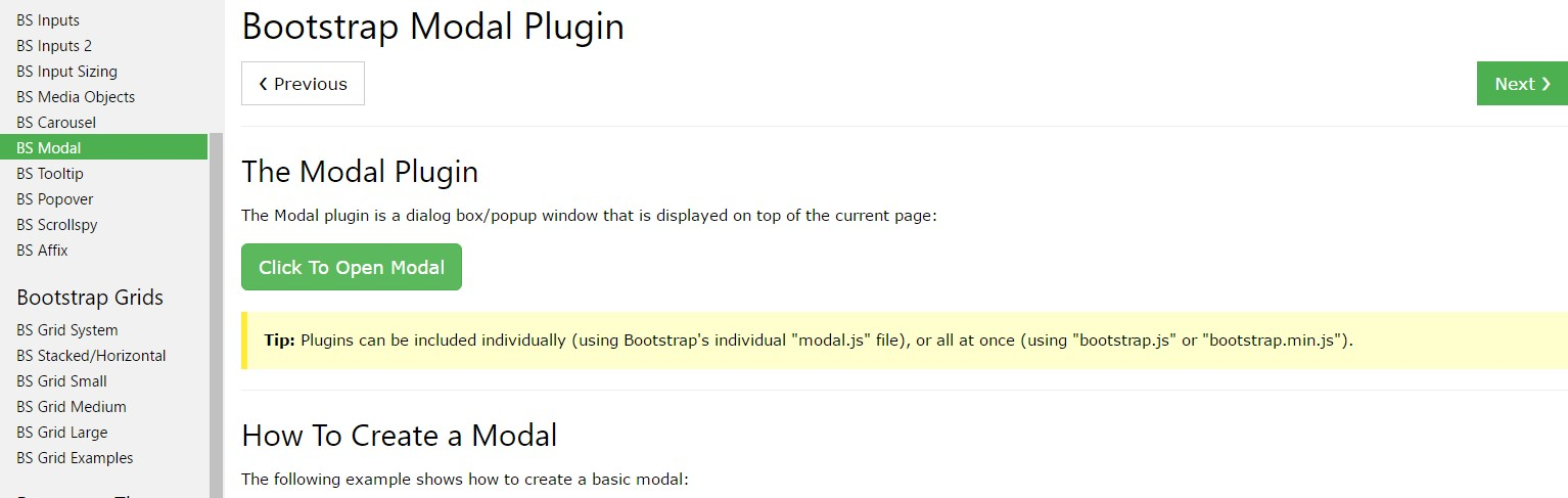 Bootstrap Modal Popup:  article  guide